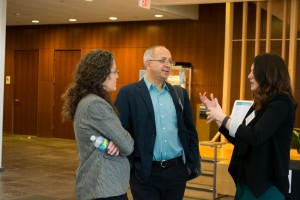 Lerna Ekmekcioglu, Cemil Aydin, and Michelle Campos chat in between conference sessions. Photo by Tat'yana Berdan, UNC-Chapel Hill '16.